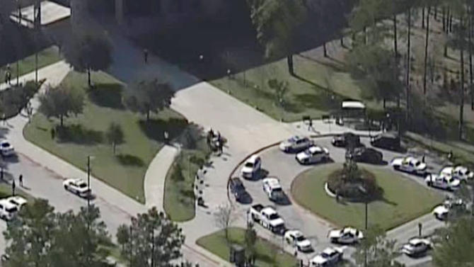 This frame grab provided by KPRC Houston shows the scene at Lone Star College Tuesday, Jan. 22, 2013, in Houston, where law enforcement officials say the community college is on lockdown amid reports of a shooter on campus.  (AP Photo/Courtesy KPRC TV) MANDATORY CREDIT