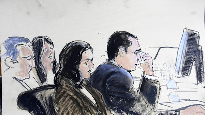 In this courthouse sketch, Gilbert Valle, reacts during his trial in federal court Monday, Feb. 25, 2013, in New York. Struggling to stay composed, the estranged wife of a New York City police officer testified Monday that she was shocked to find he had visited a website featuring a photo of a dead woman and other gruesome images ó a discovery that led to a federal prosecution accusing him of plotting to abduct, torture and eat dozens of women. (AP Photo/Elizabeth Williams)