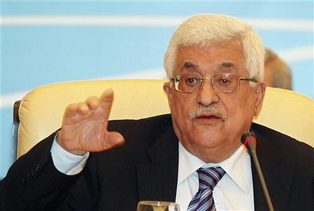 Palestinian President Mahmoud Abbas gestures as he speaks during the Arab Peace Initiative Committee Meeting in Doha