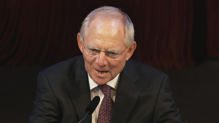 German Finance Minister Wolfgang Schaeuble, speaks during a reception to celebrate his 70th birthday in Berlin, Germany, Wednesday, Sept. 26, 2012. (AP Photo/Michael Sohn, Pool)