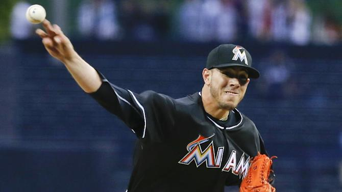Miami Marlins starting pitcher Jose Fernandez works the first inning against the San Diego Padres during a baseball game on Friday, May 9, 2014, in San Diego