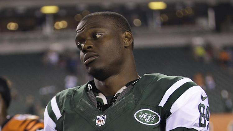 In this Aug. 16, 2014, file photo, New York Jets wide receiver Stephen Hill (84) is shown after an NFL preseason football game in Cincinnati. The New York Jets have waived wide receiver Stephen Hill, parting ways with the 2012 second-round draft pick after two seasons marked by injuries and inconsistent play. Hill was among the Jets' final cuts Saturday as teams got down to the mandatory 53-player limit