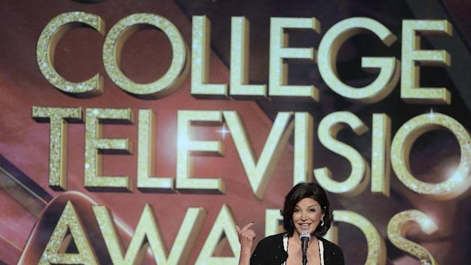 Shohreh Aghdashloo presents a College Television Award onstage at the 34th College Television Awards presented by the Academy of Television Arts & Sciences Foundation at the JW Marriott Los Angeles L.A. Live on April 25, 2013 in Los Angeles, California. (Photo by Phil McCarten/Invision for the Academy of Television Arts & Sciences/AP Images)