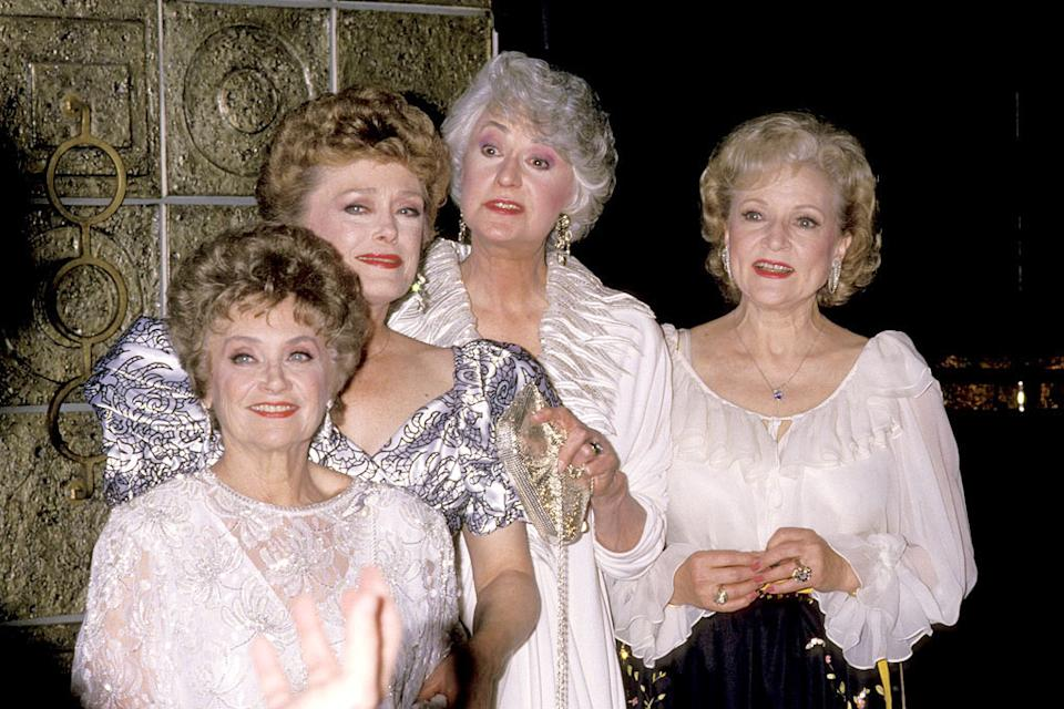 "Estelle Getty, Rue McClanahan, Bea Arthur and Betty White at the ""The Golden Girls"" 100th Episode Celebration in Los Angeles, California on April 8, 1989."