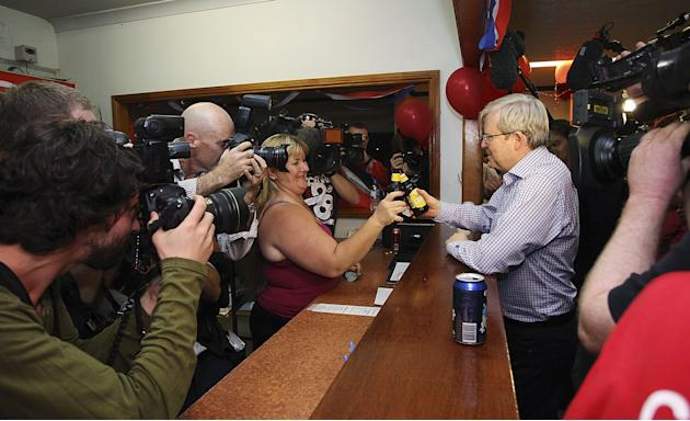 Prime Minister Kevin Rudd Visits Townsville After Launching The Australian Labor Party 2013 Campaign