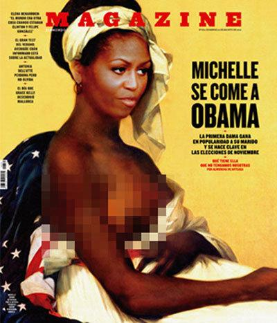 Magazine's semi-nude Michelle Obama cover