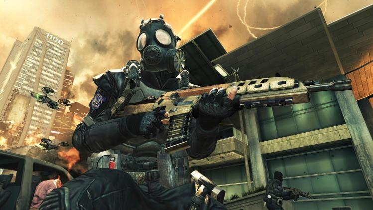 """FILE - This video game image released by Activision shows a scene from """"Call of Duty: Black Ops II."""" When the latest installment in the wildly popular """"Call of Duty"""" video game franchise is released Tuesday, Nov. 13, 2012, it will transport fans to a completely new place: the future. Setting half of """"Call of Duty: Black Ops II"""" in the year 2025 could be the riskiest gambit yet for the successful shoot-'em-up series known for its relentless past-and-present realism. (AP Photo/Activision, File)"""