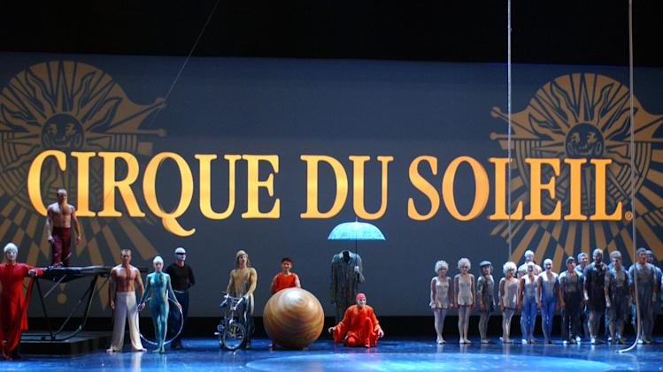 In this undated image released by AMPAS, aerialists, acrobats and contortionists from Cirque du Soleil are shown in Los Angeles. Cirque du Soleil are among the guests at this year's Academy Awards. The three-minute performance at the Oscars on Feb. 26 will feature more than 50 artists. (AP Photo/AMPAS, Darren Decker)