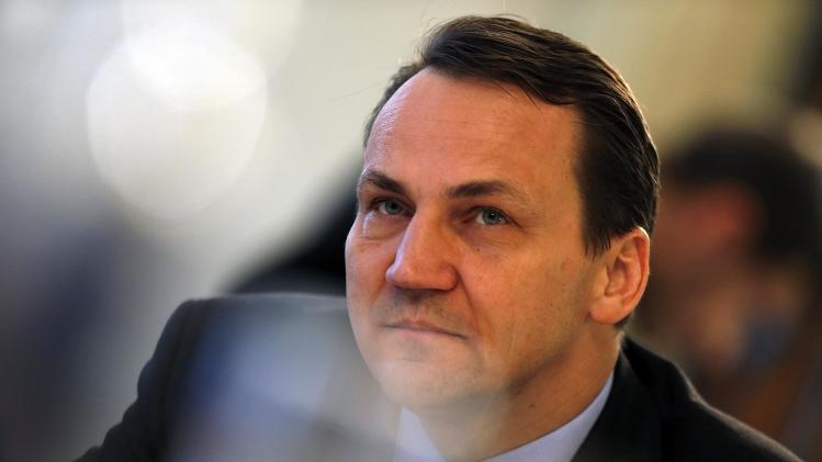 Poland's Foreign Minister Radoslaw Sikorski briefs the media during a news conference prior to the start of the Security Conference in Munich, southern Germany, on Friday, Feb. 1, 2013. The 49th Munich Security Conference starts Friday afternoon with experts from 90 delegations including US Vice President Joe Biden. (AP Photo/Matthias Schrader)