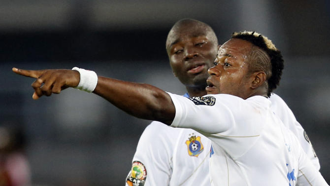 Democratic Republic of Congo's Kimwaki celebrates his goal during their quarter-final soccer match of the 2015 African Cup of Nations against  Congo in Bata