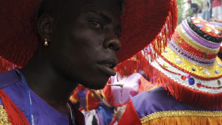 A participant takes part in a ritual dance during a Gaga ceremony in a batey, or a village originally created by workers around sugar plantations, called Batey La Higuera, near La Romana
