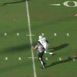 Miami Dolphins quarterback Ryan Tannehill circus pass to running back Lamar Miller for 15 yards