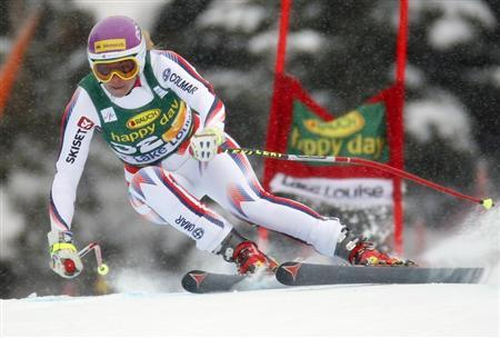 British skier Chemmy Alcott makes a turn during the Women's World Cup Super-G skiing race in Lake Louise