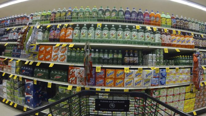 Numerous varieties of soda are shown for sale at a Vons grocery store in Encinitas, California