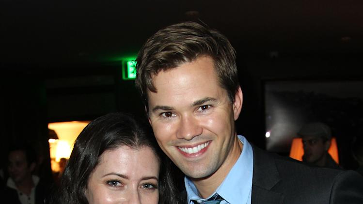 IMAGE DISTRIBUTED FOR DETAILS MAGAZINE - Lauren Miller, left, and Andrew Rannells attend DETAILS Hollywood Mavericks Party on Thursday, Nov. 29, 2012 in Los Angeles. (Photo by Matt Sayles/Invision for Details Magazine/AP Images)