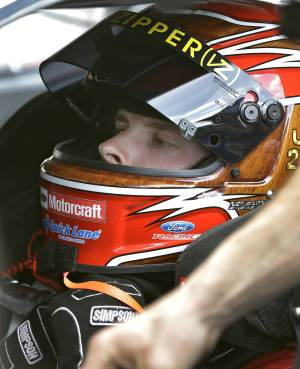 Trevor Bayne gets ready for a run during a practice for the Daytona 500 NASCAR Sprint Cup Series auto race Friday, Feb. 22, 2013, at the Daytona International Speedway in Daytona Beach, Fla. (AP Photo/Chris O'Meara)