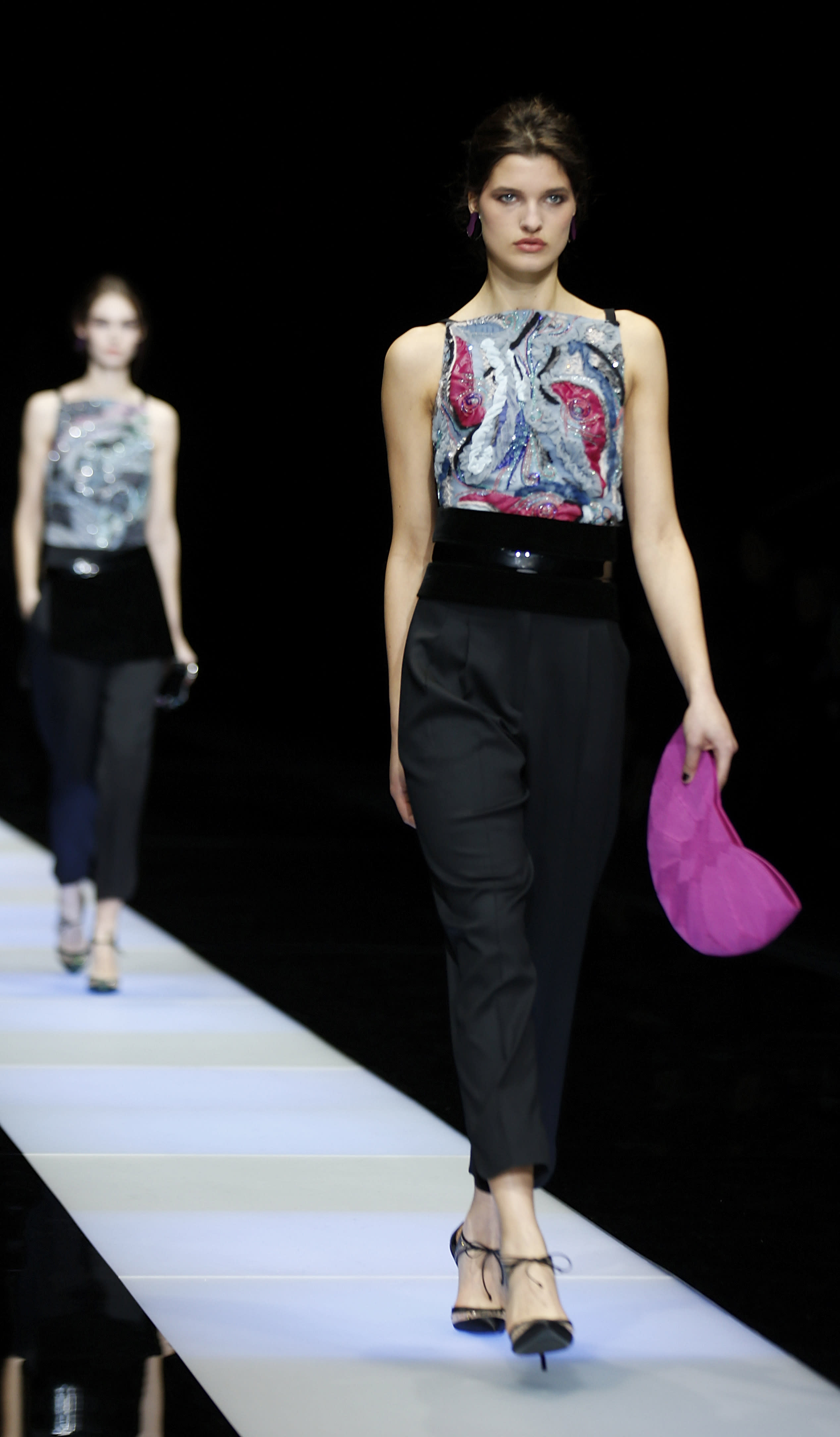 Armani creates new winter trousers with tulip flair