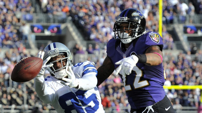 Dallas Cowboys wide receiver Kevin Ogletree, left, misses a pass as he is defended by Baltimore Ravens defensive back Jimmy Smith in the second half of an NFL football game in Baltimore, Sunday, Oct. 14, 2012. Baltimore won 31-29. (AP Photo/Gail Burton)