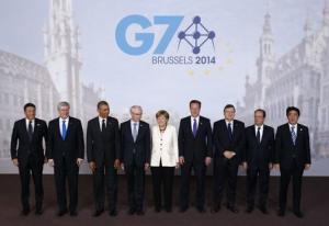 Leaders pose for a family photo at the G7 summit in Brussels