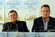 The Archbishop of Sarajevo, Cardinal Vinko Puljic (left) and the President of the Catholic community of Sant' Egidio Marco Impagliazzo give a press conference in Sarajevo on September 8. Serb Orthodox Church Patriarch Irinej and Cardinal Puljic have called for peace from a country that was the scene of the worst atrocities committed in Europe since World War II