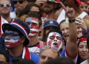 U.S. fans react during the 2014 World Cup Group G soccer match between Germany and the U.S. at a viewing party in Hermosa Beach