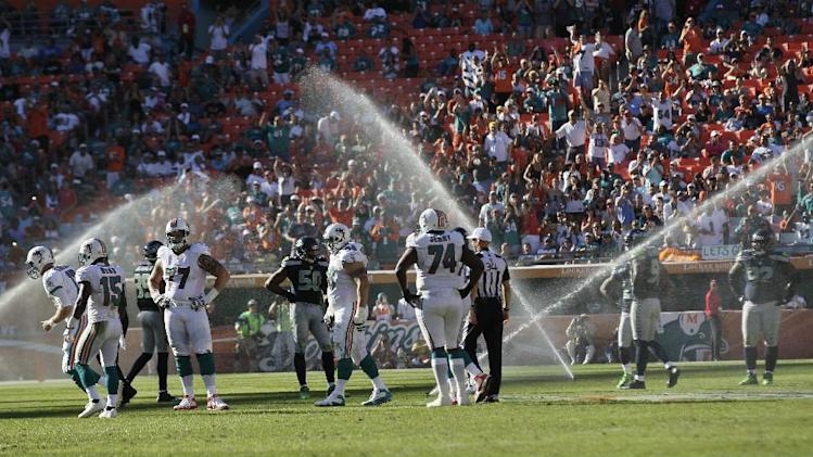 FILE - In this Nov. 25, 2012, file photo, stadium lawn sprinklers shower the field during the second half of an NFL football game between the Miami Dolphins and Seattle Seahawks in Miami. (AP Photo/Gerry Broome, File)