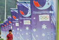 A row of banners displays the logo of South Korea&#39;s mountain resort of Pyeongchang, on July 7, 2011. About 2,300 mentally disabled athletes have gathered in Pyeongchang for the 2013 Special Winter Olympics, with Nobel Peace Prize winner Aung San Suu Kyi to attend Tuesday&#39;s opening ceremony