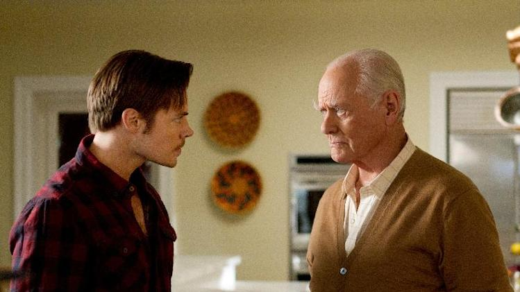 "This publicity image released by TNT shows, Josh Henderson as John Ross Ewing, left, and Larry Hagman as J.R. Ewing in a scene from ""Dallas,"" premiering Wednesday June 13, at 9:00 p.m. EST on TNT. (AP Photo/TNT, Zade Rosenthal)"