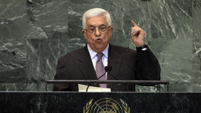 Palestinian President Mahmoud Abbas addresses the 67th session of the United Nations General Assembly at U.N. headquarters Thursday, Sept. 27, 2012. (AP Photo/Richard Drew)