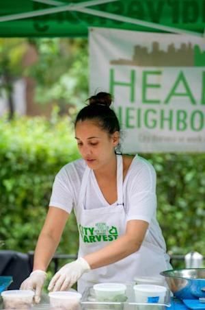 Leah Cohen participates in City Harvest's Mobile Market in Washington Heights --