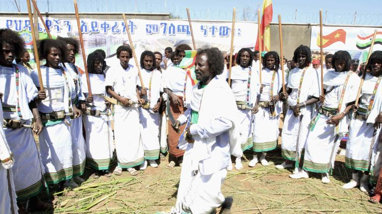 Traditional dancers perform during Ethiopian Nation Nationalities and Peoples celebration in Jigjiga Stadium