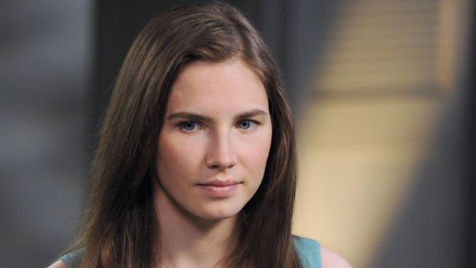 "This April 9, 2013 photo released by ABC shows Amanda Knox during the taping of an interview with ABC News' Diane Sawyer in New York. Last month, Italy's highest criminal court overturned her acquittal in the 2007 slaying of British student Meredith Kercher and ordered a new trial.  The interview will air on Tuesday, April 30, coinciding with the release of her memoir, ""Waiting to Be Heard.""  (AP Photo/ABC, Ida Mae Astute)"