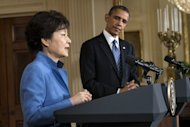 US President Barack Obama and President of South Korea Park Geun-Hye, pictured at the White House on May 7, 2013, in Washington, DC. Park held a summit with Obama, at which the two leaders reaffirmed their united front of offering no concessions in the face of provocations from North Korea