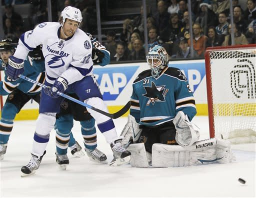 Couture scores twice as Sharks beat Lightning, 7-2