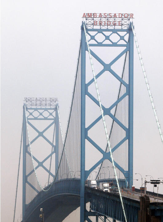 FILE - The Ambassador Bridge is shown in Detroit, Thursday, June 16, 2011. The omission in the federal budget for funding specifically for a border inspection plaza in Michigan is not expected to dela