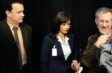 Tom Hanks , Catherine Zeta-Jones and Steven Spielberg on the set of DreamWorks' The Terminal