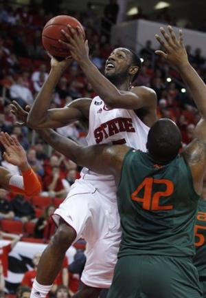 Leslie leads NC State past Miami 77-73