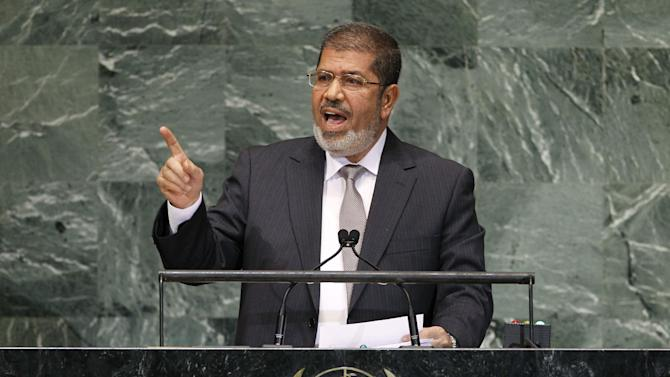 Mohammed Morsi, President of Egypt, addresses the 67th session of the United Nations General Assembly at U.N. headquarters, Wednesday, Sept. 26, 2012. (AP Photo/Jason DeCrow)