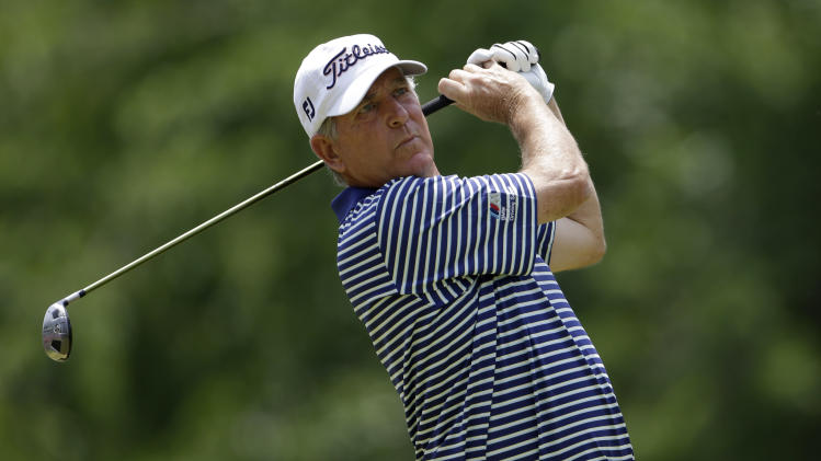 Jay Haas tees off on the second hole during the final round of the Senior PGA Championship golf tournament at Bellerive Country Club, Sunday, May 26, 2013, in St. Louis. (AP Photo/Jeff Roberson)