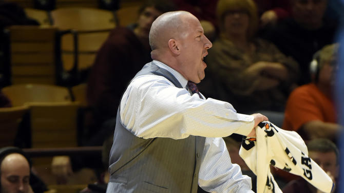 Virginia Tech's head coach Buzz Williams, instructs his players against The Citadel during the first half of an NCAA college basketball game Saturday, Dec. 20,  2014, in Blacksburg, Va. (AP Photo/The Roanoke Times, Don Petersen)