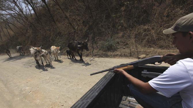 In this May 20, 2013 photo, armed men belonging to a local self-defense group patrol near the town of Cualcoman, Mexico. Self-defense groups started to spring up in February to fight back the Knights Templar drug cartel which is extorting protection payments from cattlemen and lime growers, butchers and even marijuana growers. The federal government sees both the self-defense forces and the cartel as dangerous enemies. (AP Photo/Marco Ugarte)