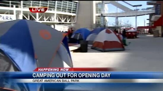 Fans camp out to buy Reds Opening Day tickets