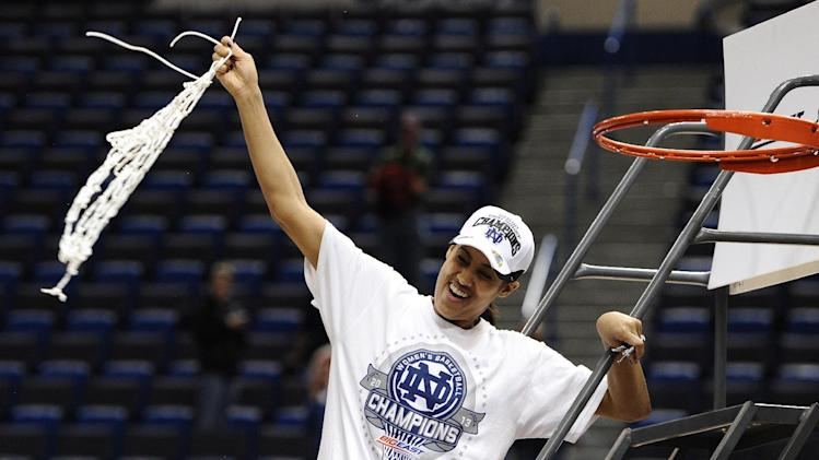 Notre Dame's Skylar Diggins celebrates  her team's 61-59 win in the Big East Conference women's tournament championship against Connecticut in an NCAA college basketball game in Hartford, Conn., Tuesday, March 12, 2013.  (AP Photo/Jessica Hill)