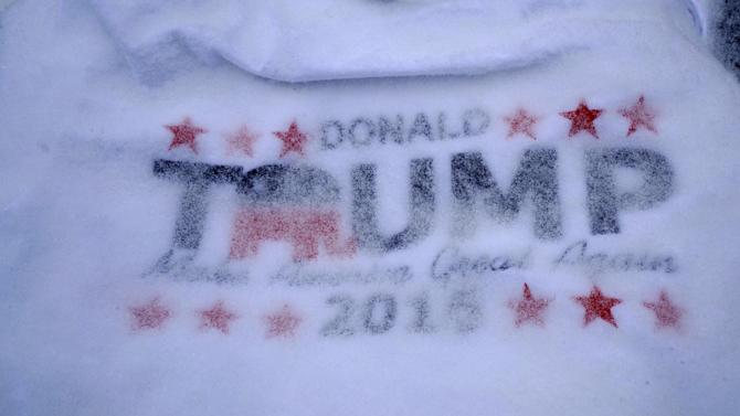 A t-shirt for U.S. Republican presidential candidate Donald Trump is covered with fresh snow at an Elks Lodge where Trump spoke in Salem
