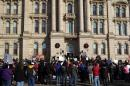 File photo of protesters gathered in front of the Jefferson County Courthouse in Steubenville