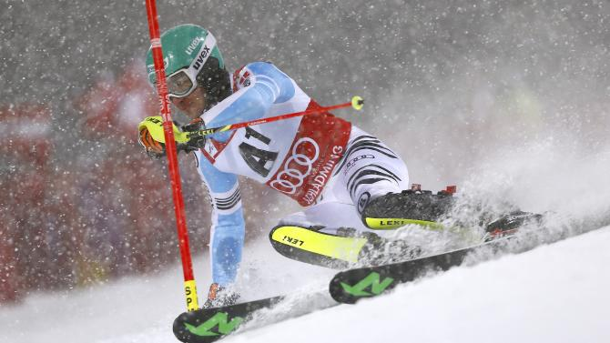 Neureuther from Germany in men's Alpine Skiing World Cup night slalom in Schaldming