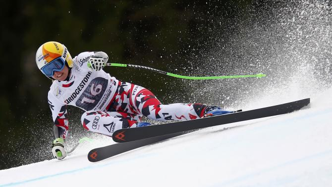 Huetter of Austria skis during the Alpine Skiing World Cup women's Super G race in the Bavarian ski resort of Garmisch-Partenkirchen