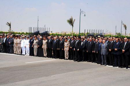 Egyptian President Abdel Fattah al-Sisi and government ministers attend Egyptian public prosecutor Hisham Barakat's military funeral service at the Field Marshal Mohammed Hussein Tantawi Mosque, in Cairo