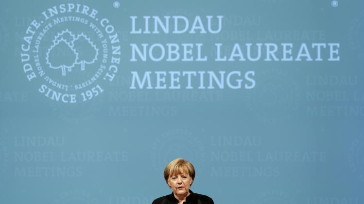 German Chancellor Merkel holds speech at opening ceremony of Lindau Nobel Laureate Meetings on Economic Sciences in Lindau