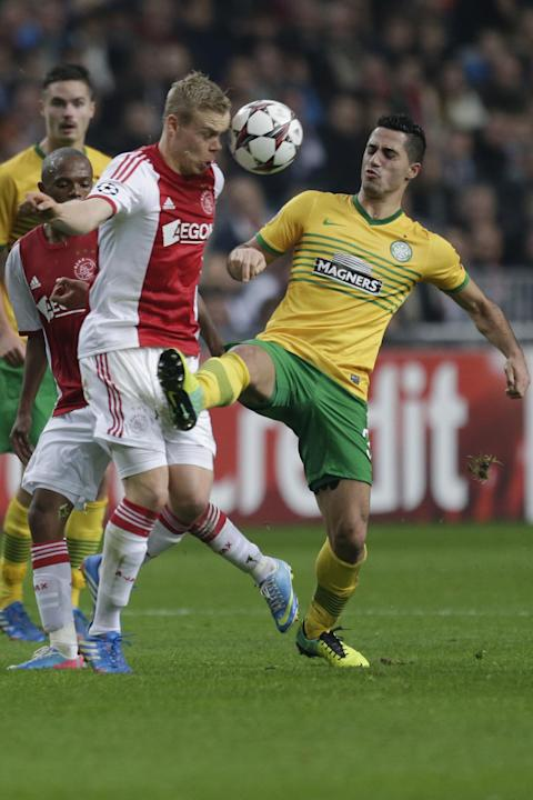 Ajax's Nicolai Boilesen, left, and Celtic's Emilio Izaguirre, right, vie for the ball during the Champions League Group H soccer match between Ajax Amsterdam and Celtic Glasgow at ArenA stadium in Ams